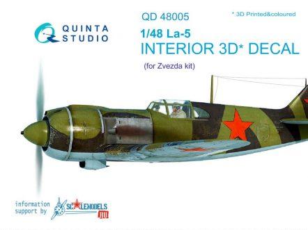 QD48005 3D Декаль интерьера кабины Ла-5 (для модели Звезда 4801)