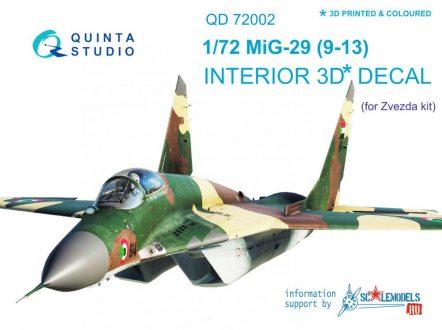QD72002 3D Декаль интерьера кабины МиГ-29 9-13 (для модели Звезда 7278)